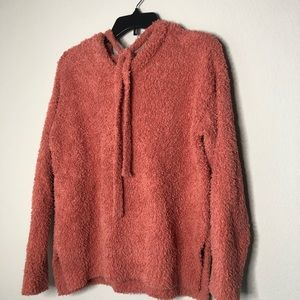 Coco + Jaimeson Coral Pink Fuzzy Cozy Hoodie S